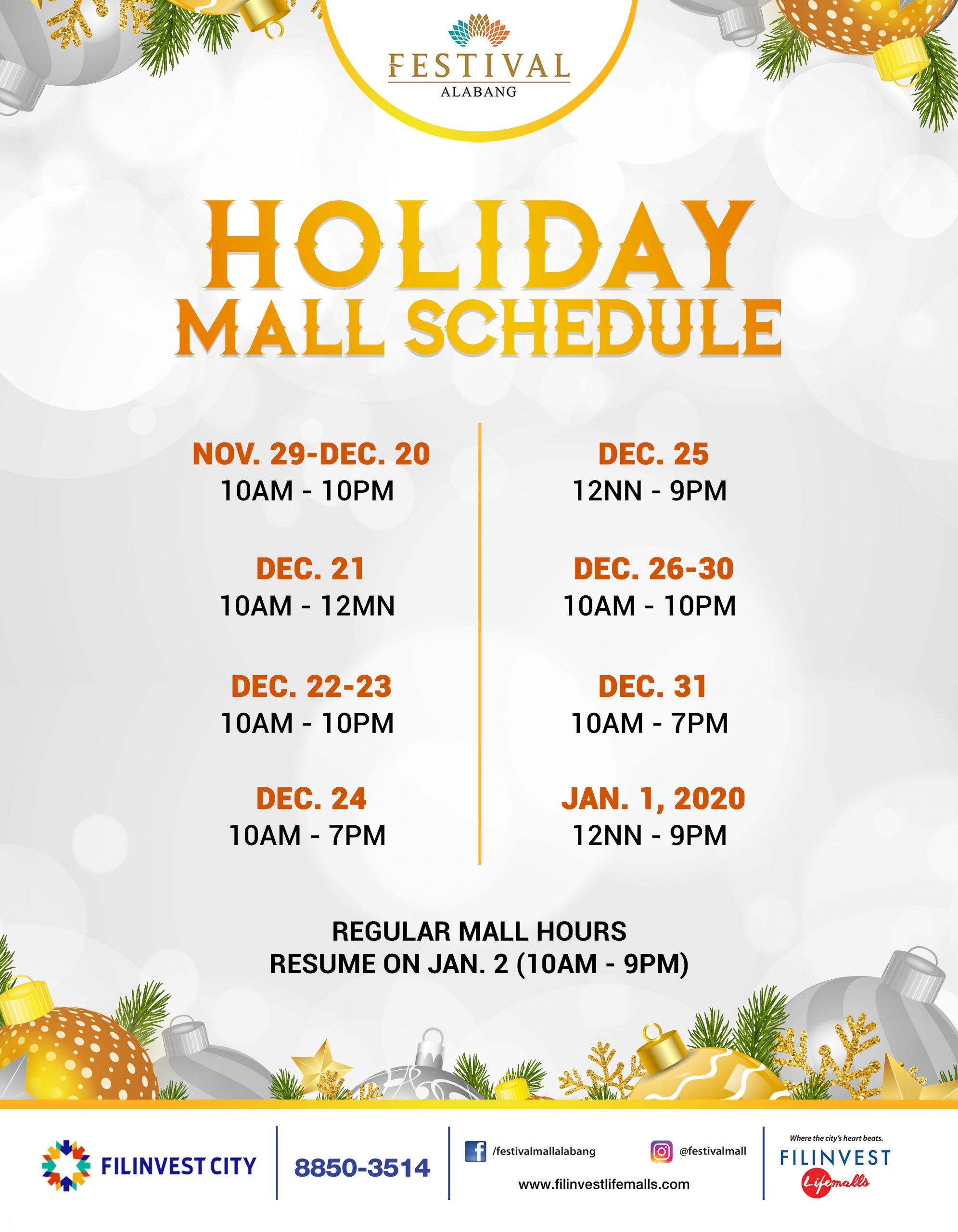 Festival Mall's Holiday Mall Schedule
