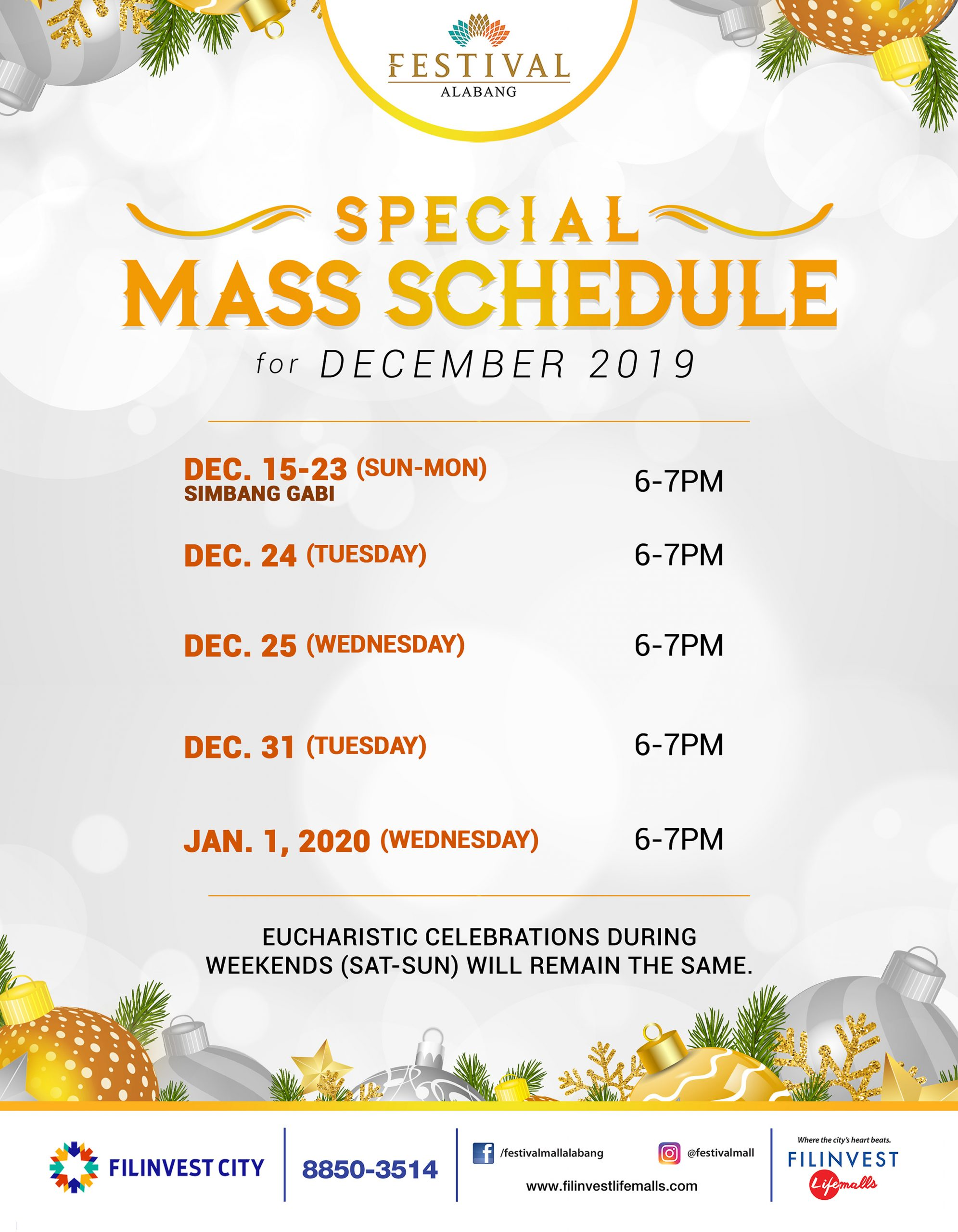 Festival Mall's Special Mass Schedule