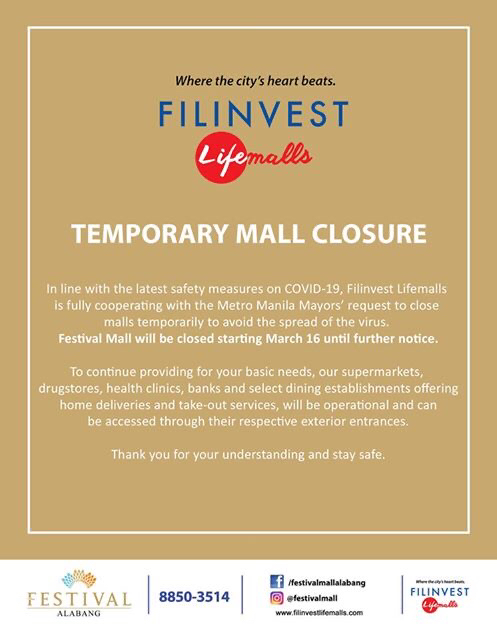 TEMPORARY MALL CLOSURE