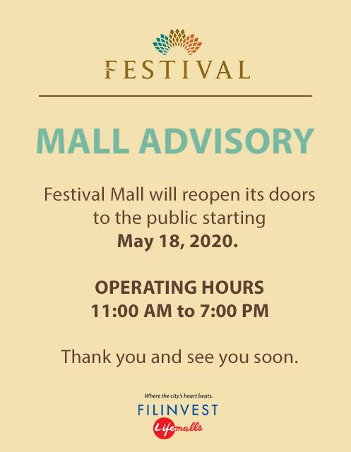 FESTIVAL MALL ADVISORY (Mall Re-Opens starting May 18, 2020)