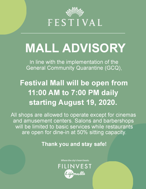 GCQ OPERATING HOURS (FESTIVAL MALL)