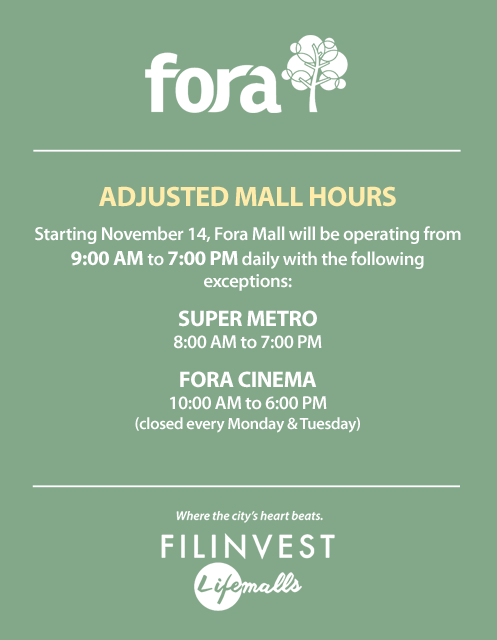 ADJUSTED MALL HOURS – Fora Mall