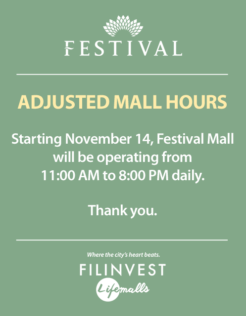 ADJUSTED MALL HOURS – Festival Mall
