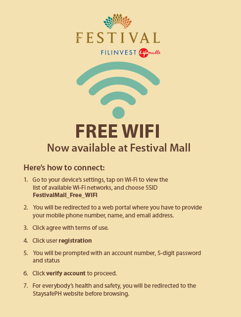 Free WiFi now available at Festival Mall!