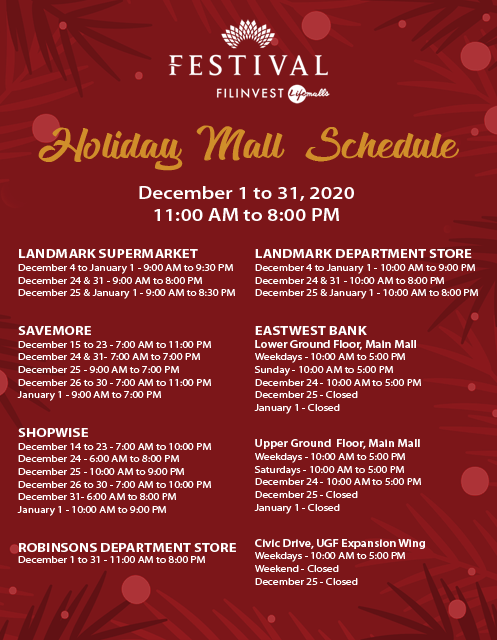 Festival Mall Holiday Schedule